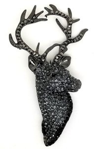 Elle Cross GUNMETAL BLACK STAG ENCRUSTED CRYSTAL SWAROVSKI ELEMENTS PIN BROOCH