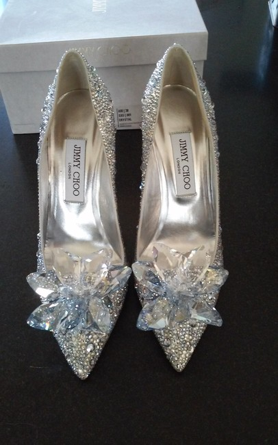 Item - Silver Crystals Cinderella Pumps Size US 8 Regular (M, B)