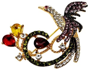 ELLE CROSS FACTORY NEW BIRD OF PARADISE MULTI-COLOR ROUND PEAR CZECH CRYSTAL PIN