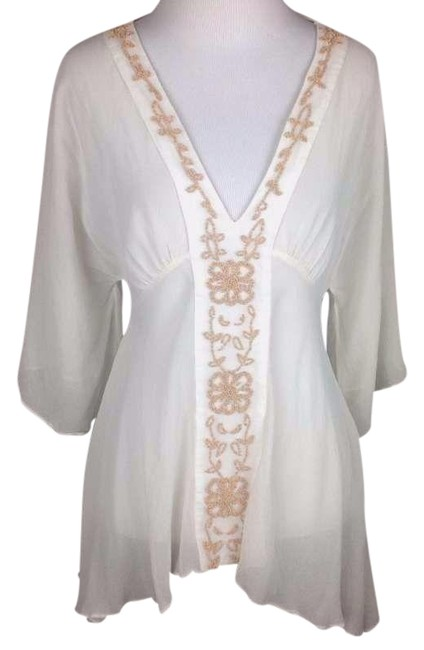 Preload https://img-static.tradesy.com/item/23383451/miguelina-ivory-sheer-embroidered-blouse-size-4-s-0-1-650-650.jpg