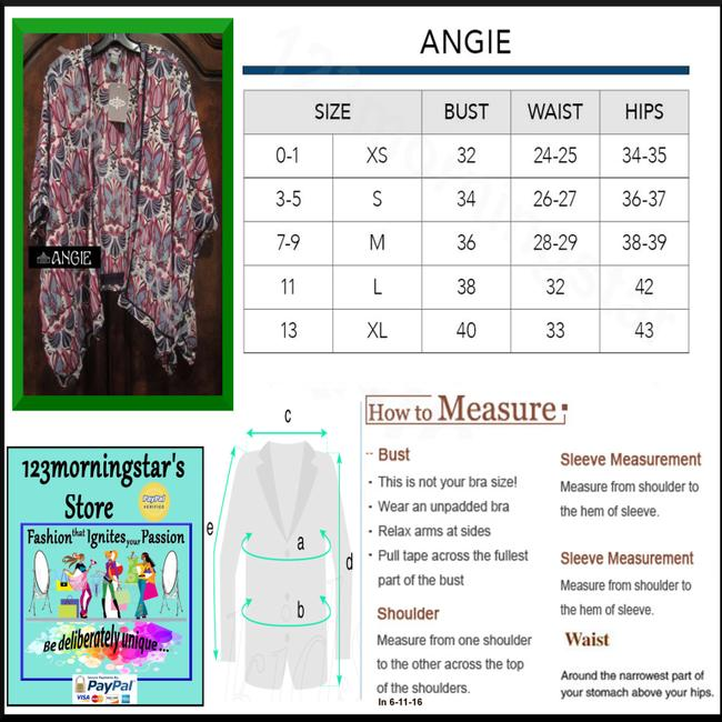 Angie Mural Abstract Print Open Front Crochet Ribbon Trim Contrast Tab Elbow Sleeves Multi-Color Blazer