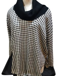 Black/White Houndstooth Cowl Neck Sweater Sweater