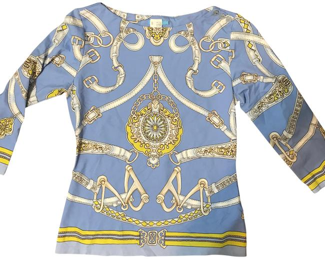 Preload https://img-static.tradesy.com/item/23383499/jmclaughlin-baby-blue-and-yellow-signature-34-tee-blouse-size-2-xs-0-2-650-650.jpg