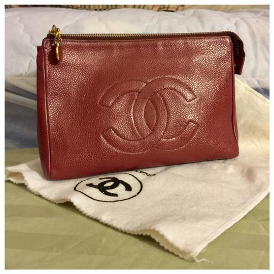 Chanel Authentic CHANEL CC Logo Caviar Skin Leather Cosmetics Porch Vintage Bag