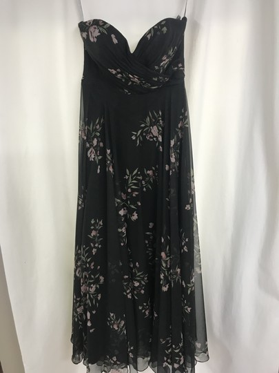 Jenny Yoo Black Cinnamon Rose Eden Bouquet Adeline Print Modern Bridesmaid/Mob Dress Size 12 (L)