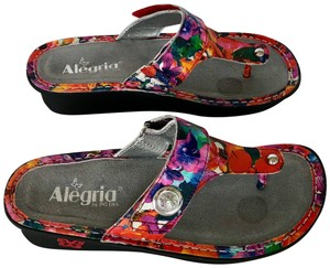 Alegria by PG Lite Carina Velcro Thong Wedge red multi Sandals