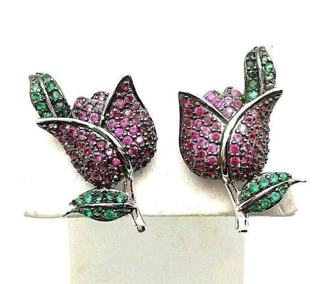 Item - Multi-color 1.59ctw Pave Set Round Red Green Simulant Rosebud Earrings