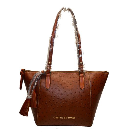 e2dcbab9edd Dooney   Bourke Leather Shopper Maxine Ostrich Tote in Cognac Image 7