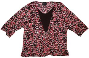 Maggie Barnes Stretchy Faux Layer Top Dark Brown, Pink, White
