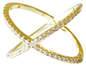 Unknown Criss Cross X Ring Gold Plated Cubic Zirconia