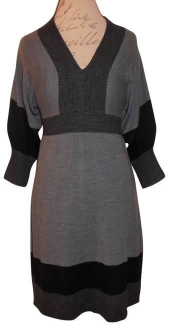 Preload https://img-static.tradesy.com/item/23383783/connected-apparel-charcoal-gray-black-striped-dolman-batwing-thin-knit-sweater-short-casual-dress-si-0-1-650-650.jpg