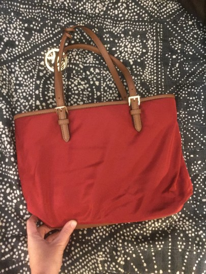 Michael Kors Travel Tote in Red & Brown