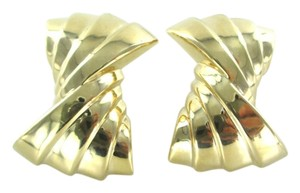 14KT YELLOW GOLD EARRINGS RIBBON HOLLOW CLIP FINE JEWELRY 9.7 GRAMS ART DECO