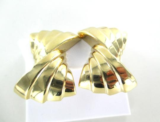 Other 14KT YELLOW GOLD EARRINGS RIBBON HOLLOW CLIP FINE JEWELRY 9.7 GRAMS ART DECO Image 1