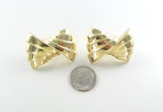 Other 14KT YELLOW GOLD EARRINGS RIBBON HOLLOW CLIP FINE JEWELRY 9.7 GRAMS ART DECO Image 6