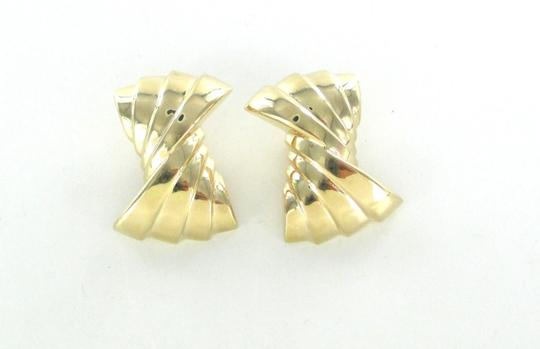 Other 14KT YELLOW GOLD EARRINGS RIBBON HOLLOW CLIP FINE JEWELRY 9.7 GRAMS ART DECO Image 8
