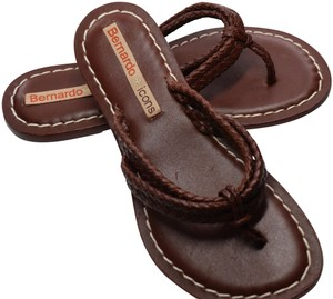 Bernardo Braided Leather Hand Crafted All Leather brown Sandals