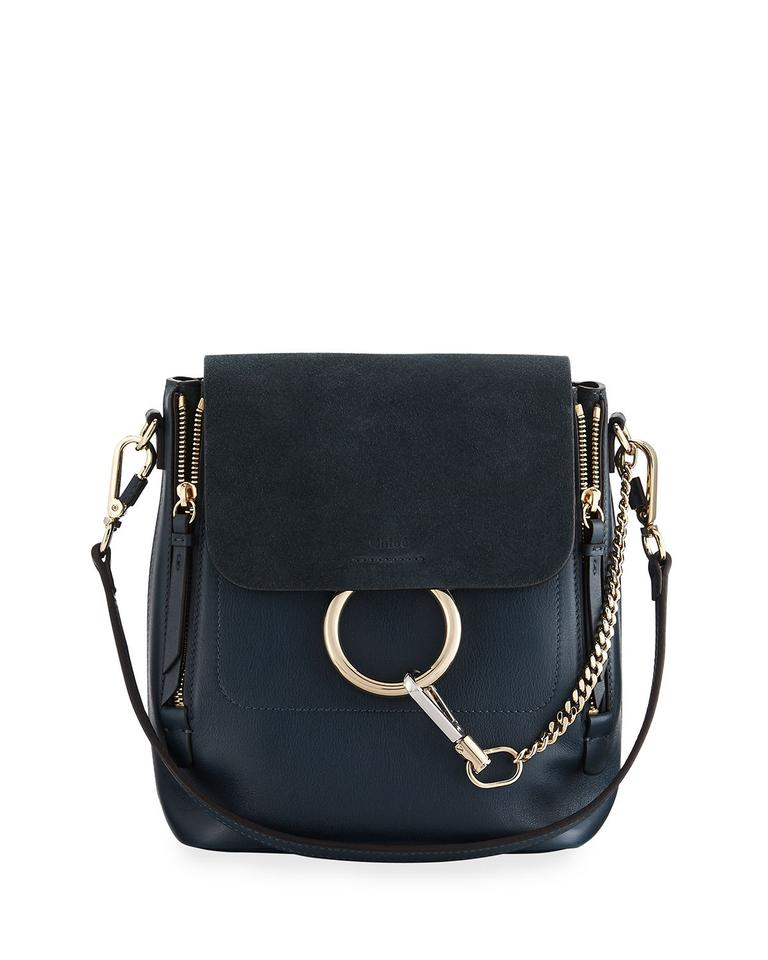 Backpack Blue Medium Leather Silver Faye Chloé Calf wOYHFx