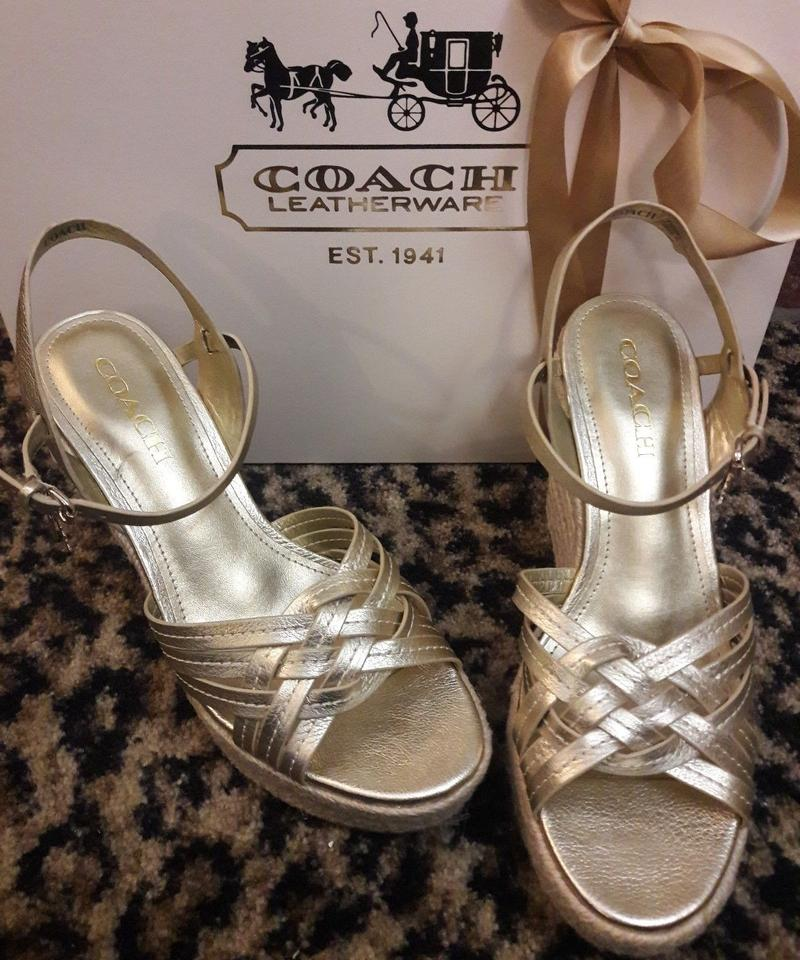 b136f9ee73eb Coach Strappy High Wedges Designer Sellingcrazy Gold Sandals Image 4. 12345