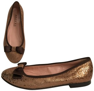 Anyi Lu Leather Ballet Ballerina Slip Ons Holiday Gold Brown Flats