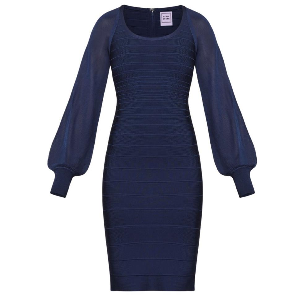 7dd6de6f167 Hervé Leger Navy Blue Jersey Laurie Bandage and Sheer Long Sleeve Bodycon  Stretch Cocktail Dress