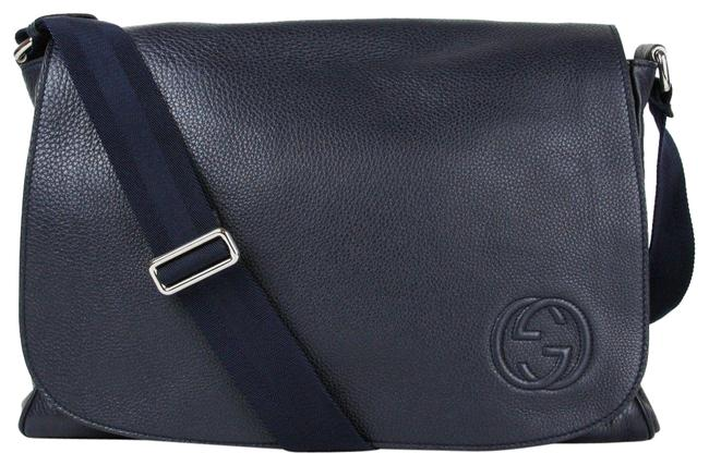 Item - Soho Diaper with Changing Pad 356521 4009 Navy Blue Leather Messenger Bag