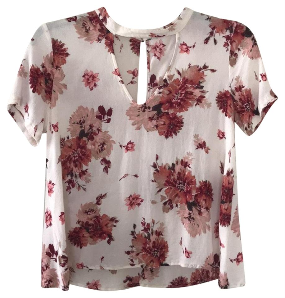 Lush Offwhite With Pinkmaroon Flowers Nordstroms Blouse Size 4 S