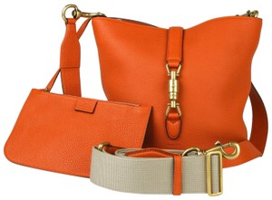 Gucci Leather Jackie Bucket Tote in Orange