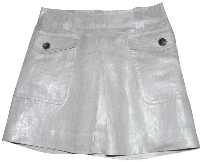 Item - Gray Silver Linen Pleated Skirt Size 2 (XS, 26)