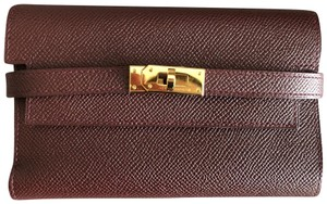 Hermès Authentic HERMES Signature Kelly Medium Wallet Bordeaux Epsom Leather