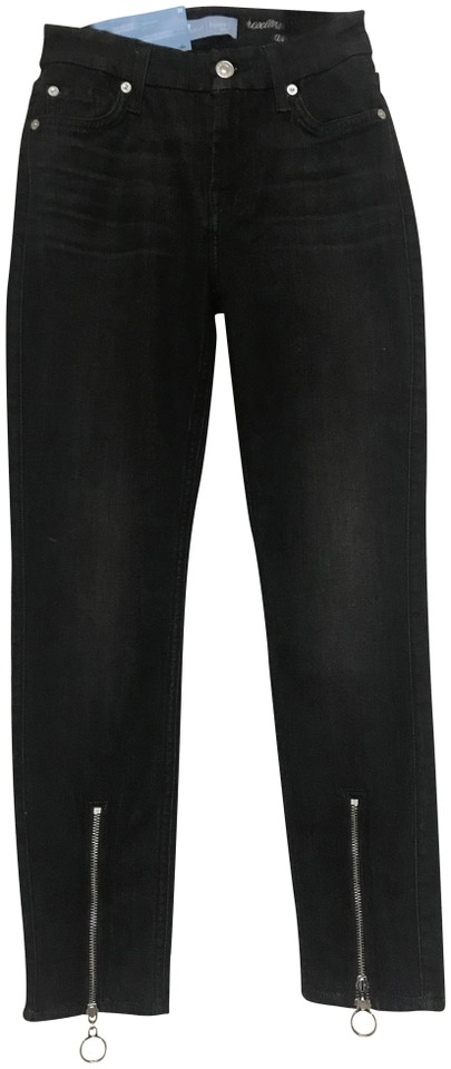 7 For All Mankind Black Dark Rinse B(Air) Denim Roxanne Ankle with Front  Zipper In Noir Skinny Jeans c6a9fde9b