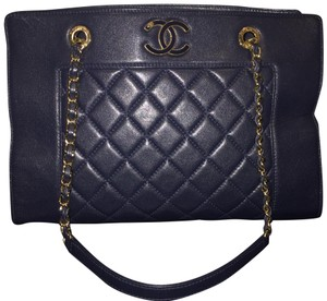 8896f751bd067 Added to Shopping Bag. Chanel Tote in Blue. Chanel Mademoiselle 2017  Quilted Border Shopping Ghw Cc Navy Blue Sheepskin Leather Tote