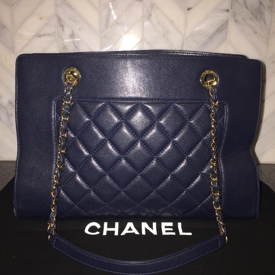 00835111b209e Chanel Mademoiselle 2017 Quilted Border Shopping Ghw Cc Navy Blue Sheepskin  Leather Tote
