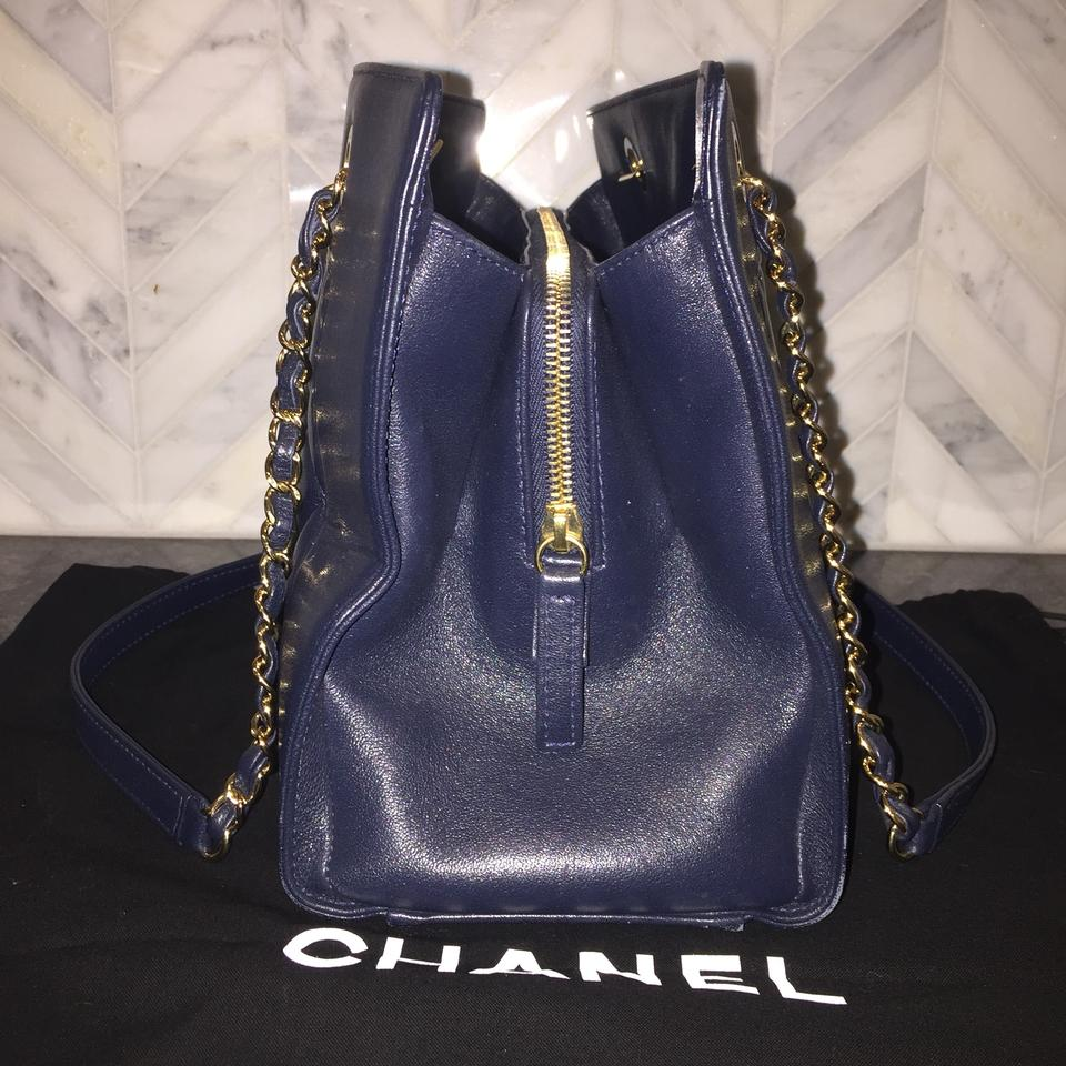 ccac3f9550b60 Chanel Mademoiselle 2017 Quilted Border Shopping Ghw Cc Navy Blue Sheepskin  Leather Tote - Tradesy