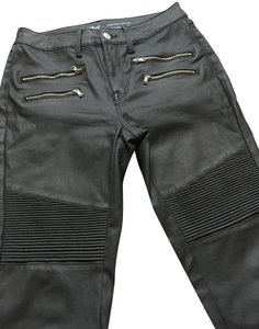 Mossimo Supply Co. Biker Moto Motorcycle Pleather Faux Leather Skinny Pants Black