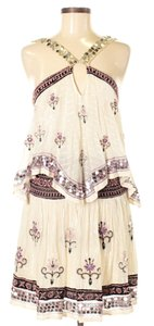 Free People short dress Ivory Sleeveless Embellished Embroidered Print on Tradesy