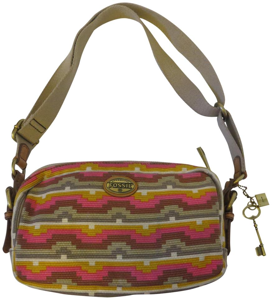 Fossil Explorer Zb5259 Top Zip Multicolor Canvas Leather Cross Body ...
