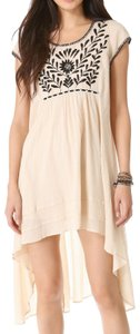 Free People short dress Beige Embroidered Hi Lo Cotton on Tradesy