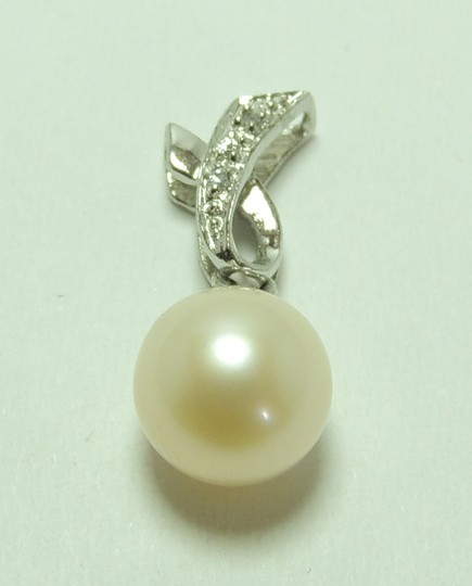 New'925 Sterling Silver + Platinum Rhinesstone Pearl Pendant P0002