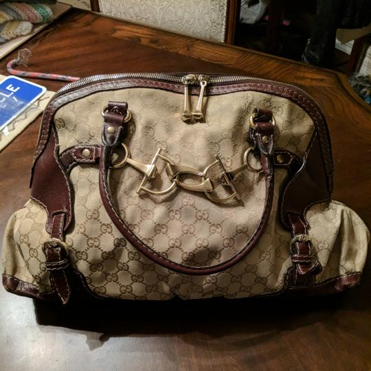 0fb42f957 Gucci Horsebit Large with Detail Brown Canvas Shoulder Bag - Tradesy