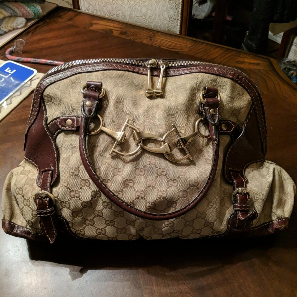 80ecdfb71880 Gucci Horsebit Large with Detail Brown Canvas Shoulder Bag - Tradesy