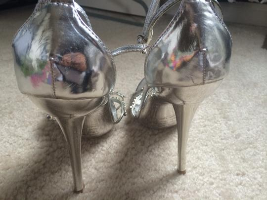 Bakers Heals Crystal Wedding Silver Pumps