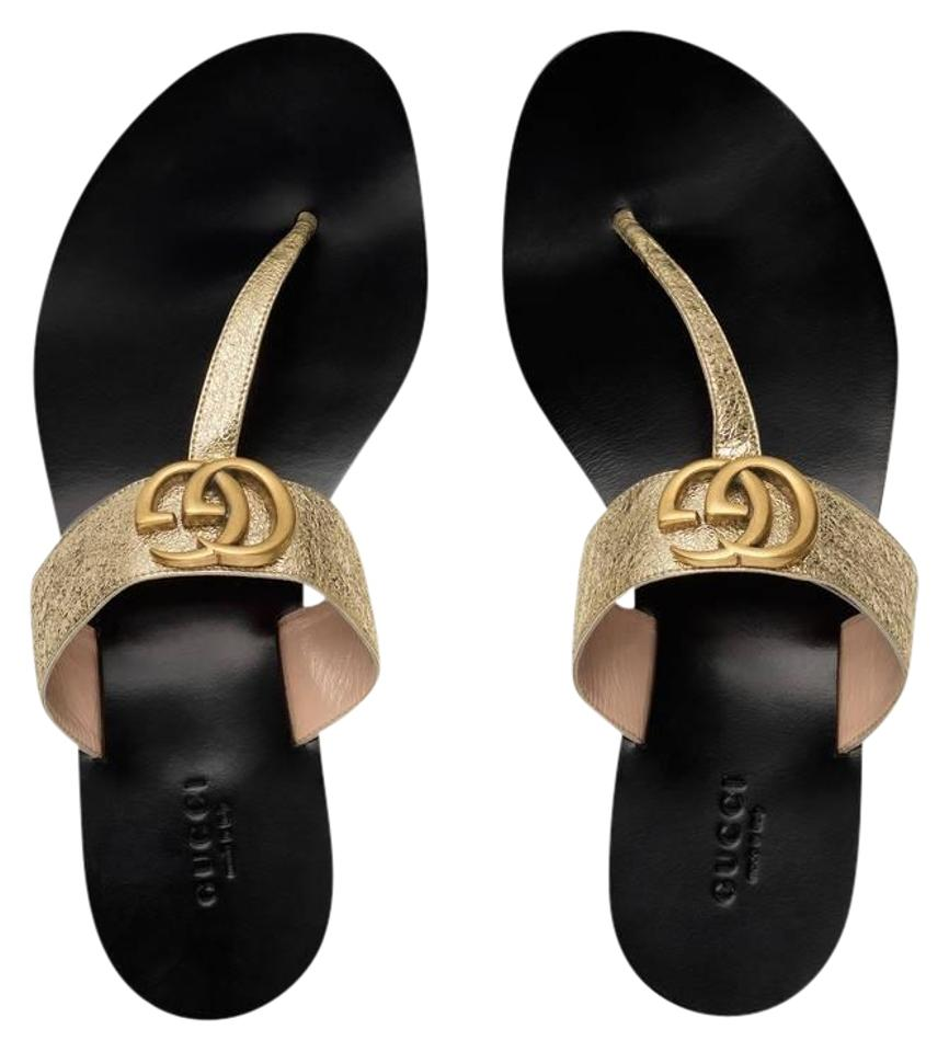 c0a7a8aebecb Gucci Gold Leather Thong with Double G Sandals Size EU 40 (Approx ...
