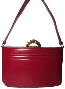 Evans Mint Vintage Lunchbox Style Early Lots Of Pockets Satchel in true red leather and engraved gold frame and clasp