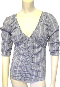 Nine West Jeans Peasant Stretchy Top Blue