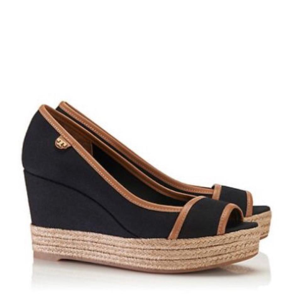 e21a65f55ebe4f Tory Burch Black Tan New In Box Majorca Sandal Wedges Size US 10 ...