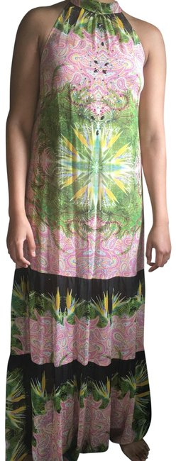 Item - Black Pink Green Multi Colored Artelier Long Cocktail Dress Size 10 (M)