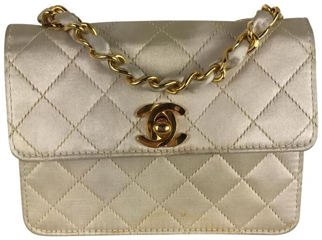 Chanel Classic Flap Champagne White Ivory Satin Cross Body Bag Chanel Classic Flap Champagne White Ivory Satin Cross Body Bag Image 1