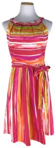 Chetta B. by Sherrie Bloom and Peter Noviello short dress Multi Color Watercolor Striped Belted on Tradesy