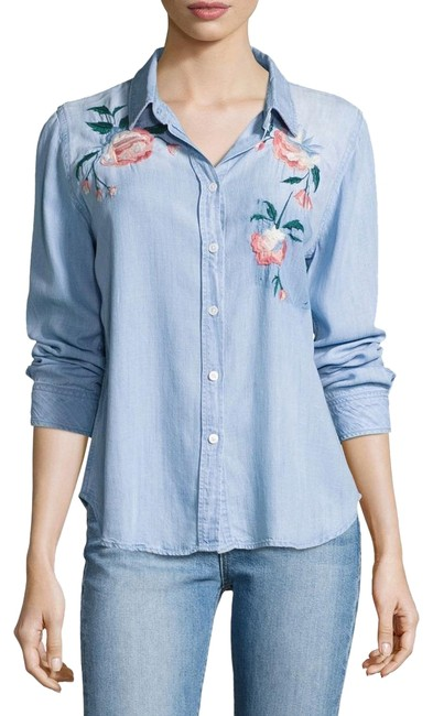 Rails Denim Chandler Floral Embroidered Shirt Button-down Top Size 2 (XS) Rails Denim Chandler Floral Embroidered Shirt Button-down Top Size 2 (XS) Image 1